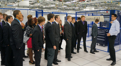 A group of students touring a data center